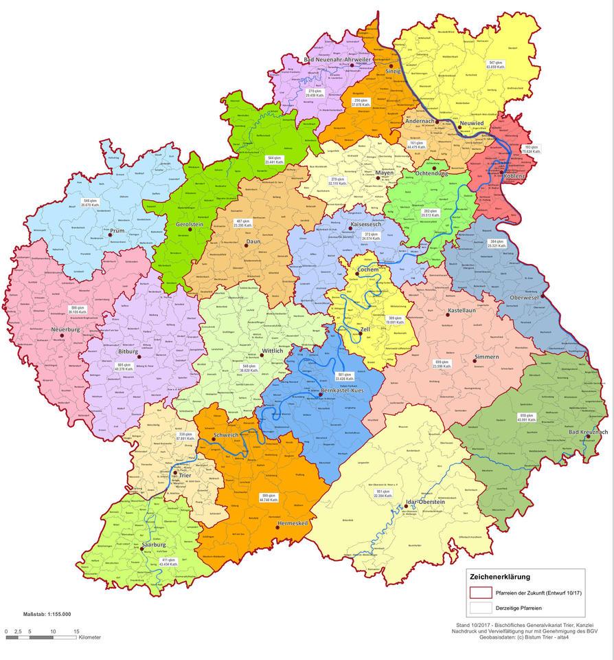 Bistum Trier Karte.überarbeiteter Entwurf Nur Noch 33 Pfarreien Im Bistum Trier