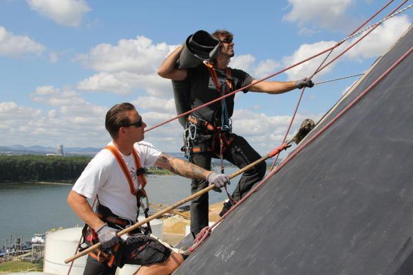 Klettergurt Dachdecker : Klettergurt seil helm karabiner und unterlänge